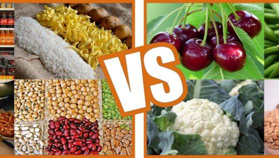 Aliments à index glycémique haut VS aliments à index glycémique bas. Fight !