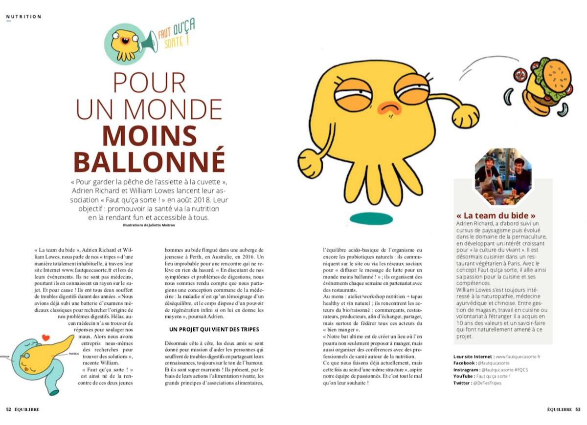 Publication de Faut qu'ça sorte sans le magazine Equilibre : pour un monde moins ballonné !
