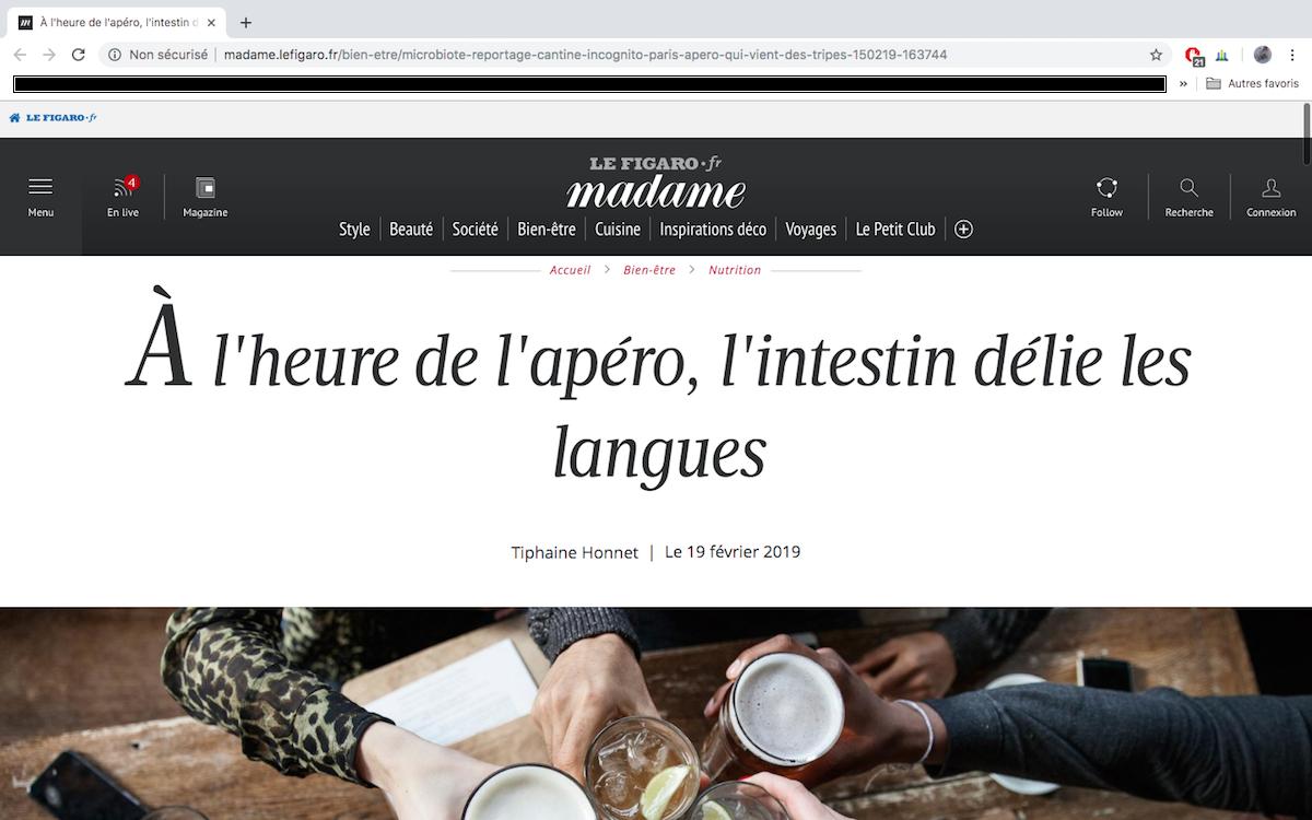 """Article de presse Faut qu'ça sorte ! dans le Figaro Madame : """"A l'heure de l'apéro, l'intestin délie les langues..."""""""
